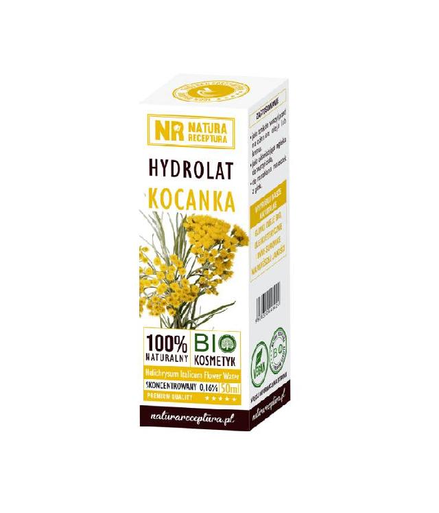 Natura receptura hydrolat z kocanki szklana butelka z dozownikiem w opakowaniu 50ml