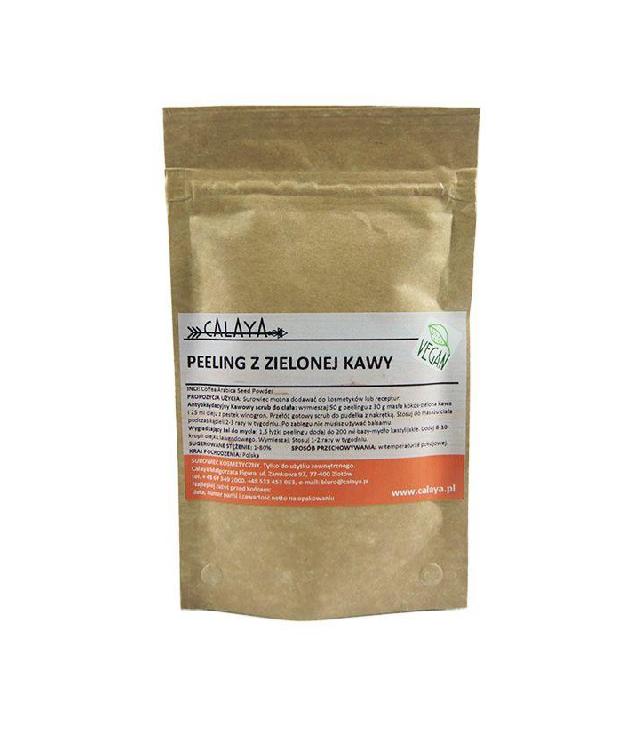 Calaya Peeling z nasion zielonej kawy do ciała i skóry głowy 100% papierowe opakowanie 50g