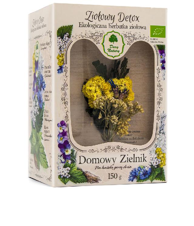 Dary Natury Domowy Zielnik - mieszanka Ziołowy Detox w ozdobnym pudełku z okienkiem i suszonym bukietem