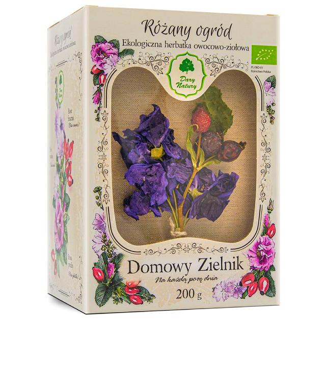 Dary Natury Różany Ogród - mieszanka ziół pielęgnujących włosy z różą i ślazem, ozdobne pudełko z okienkiem