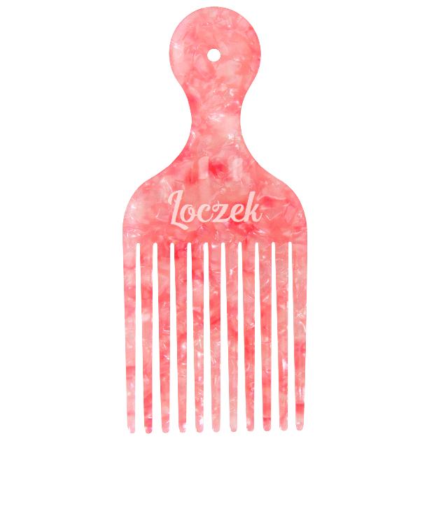 Loczek Afropick Grzebień Crystal z acetatu różowy w marmurkowy deseń