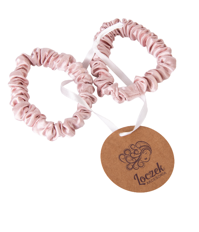 Loczek Kwiat Wiśni jedwabne scrunchie 2sz. różowe w jedwabnym woreczku